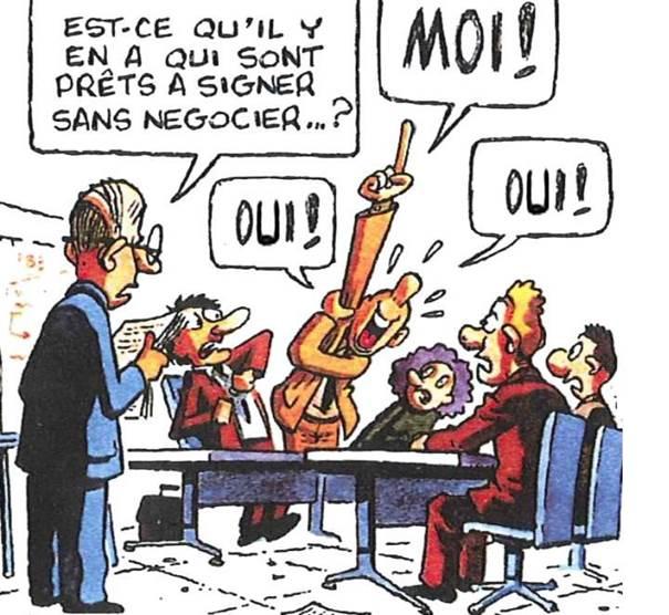 """Résultat de recherche d'images pour """"greviste à la table de négociation humour caricature"""""""